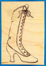 Victorian Boot Rubber Stamp - Art Gone Wild - Lace Up with High Spool Louis Heel