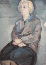 Vintage gouache painting woman portrait
