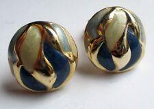 Bijou Vintage belles boucles d'oreilles clip couleur or émail bleu et beige 5128