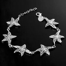 """925 Sterling Silver Plated Women Fashion Charm """"Stars"""" Chain Bracelet Bangle NEW"""