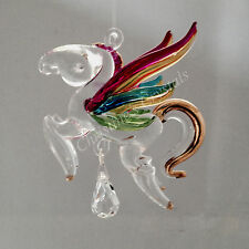 Hand Crafted PASTEL Fantasy Glass PEGASUS & Crystal Rainbow Maker Suncatcher