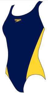 Speedo Lepa Splashback Womens, Girls Swimsuit Navy Yellow Endurance Medium Leg