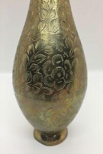 Vintage Brass Vase from India, Flower Vase, Engraved Vase, Floral Vase, Boho
