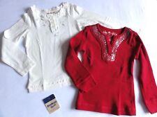 ~2x Shirts PLACE/GAP+OSHKOSH longsleeve rot+weiß Glitzer Pailletten 98-104 TOP