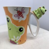 INDRA Hand Painted in Thailand FROG on Handle Coffee Mug Fine Stoneware Bee