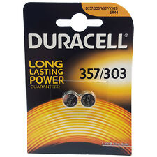 2 x Duracell 357 303 D357 KS76 SR44W Watch Batteries