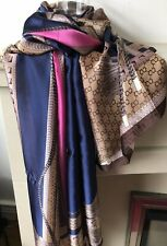 6aa866f10 Designer Inspired Large Scarf 100% Silk Navy & Pink With Gold Chain Print