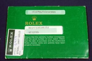 BW 114.  ROLEX 18K SS 69173 OPEN CERTIFICATE # 564.06.100.9.86 WITH PORTFOLIO.