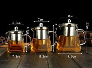Tea Coffee Infuser Glass Teapot Tea Set Drinkware Ice Water Flower Strainer Lid