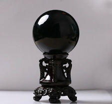 40MM Natural Black Obsidian Sphere Large Crystal Ball Healing Stone Exquisite