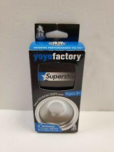 YoyoFactory SuperStar Yoyo - Metallic Silver - Neon Green String AGES 8+