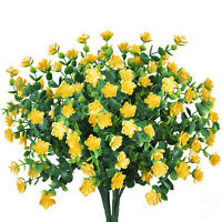 4pcs Artificial Flowers Fake Plant Outdoor Faux Floral Greenery Shrubs Yellow