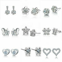 Womens Cubic Zirconia Stud Earring Snowflake Heart Wedding Engagement Jewelry