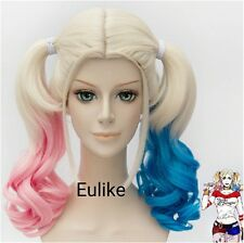 Batman suicidio escuadrón Harley Quinn Peluca Rosa Azul Degradado Cabello Cosplay Party Wig