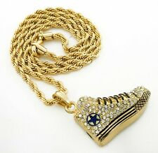 """Pendant w 24"""" 2.5mm Rope Chain 3047 + White Gd Pt Micropaved Black Lace Sneakers"""