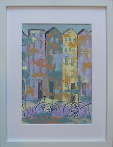 Oxford Bicycle Blues : original framed painting, city, houses, bicycles, texture