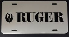 Sturm Ruger gun firearm white license plate tag with black logo car truck