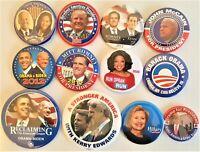 12 Presidential  Campaign Buttons  Biden Trump Obama Romney Hillary etc SET21CC
