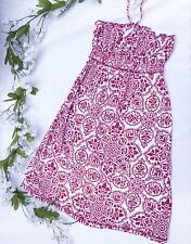 Casual Baroque Print Halter Dress - White/Berry (Size Small)