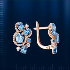 Russian solid rose gold 585 /14ct Blue Topaz and CZs earrings NWT.