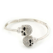 Clear Diamante Elements 'Double Skull' Flex Bangle Bracelet In Silver Plating  -