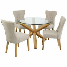 """Solid Oak and Glass Dining Table Round 42"""""""
