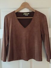 Faux Suede Shirt V neck Top Chestnut Brown Size S Vintage