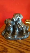 Labrador Puppies Dogs Bronzed Finish Resin Figure / Collectable