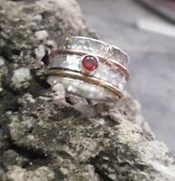 """Granet 925 Sterling Silver Spinner,Meditation Ring Statement Ring aa2892"""""""