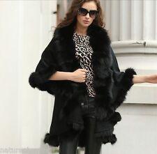Women's elegant/Real Fox Fur burrs Stretch fabric Coat Cloak Poncho/shawl/black