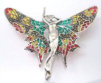 ART NOUVEAU BROOCH Pixie Enamel Marcasite 925 Silver Sterling Silver