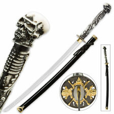 "40"" Skull & Bones Samurai Ninja Bushido Katana Japanese Sword Carbon Steel Blade"