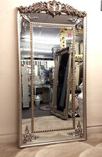 Antique Silver Ornate Vintage French Bevelled Champagne Wall Mirror 200x100cm
