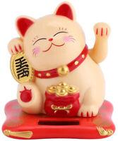 Solar Powered yellow Maneki Neko Beckoning Lucky Money Cat Dancing Toy USA