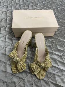 Loeffler Randall Gold Bridal Penny Knot Sandal Sz 8