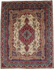 One of a Kind Cream Teal Red Classic 10X13 Vintage Oriental Rug Handmade Carpet
