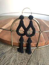 Anthropologie Black Beaded Tassel Earrings