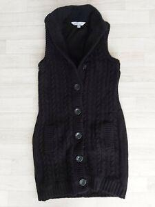 Crew Clothing Size 12 Long Black Sleeveless Chunky Knit Cardigan Wool Blend