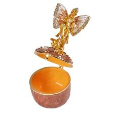 Jeweled Painted Angel Metal Hinged Trinket Box Wedding Jewelry Mother's Day Gift