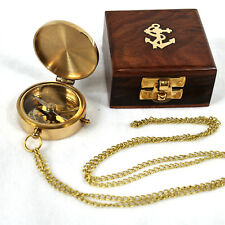 Messing Kompass 5 cm mit Kette in edler Holzdose