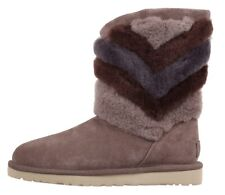 UGG Tania Stormy Grey Suede Chevron Twinface Boot, RRP £195, Size 7.5