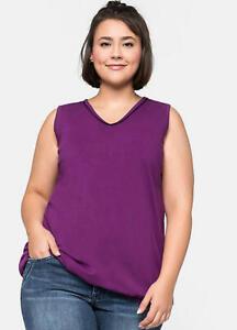 SHeego @ curvissa plus Size 28 Purple Sleeveless V Neck Jersey TOP Casual Summer