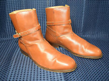 The J. Peterman Ankle Boot Leather Adj Strap Cognac Brown  Made In Italy 10M