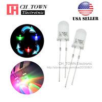100pcs 5mm Rainbow Water Clear RGB 2pin Flash Slow Flashing LED Diodes USA