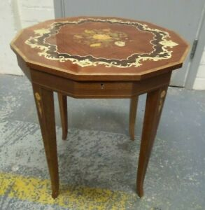 """Sorrento 12 sided Sewing Musical Side Table, 20"""" Tall"""
