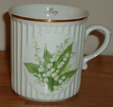 "MAY & LILY OF THE VALLEY Flower MUG w/gold trim 3.5"" Original Bohemia porcelain"