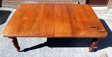 Victorian antique Arts Crafts solid walnut 2 leaf extending dining table seat 10
