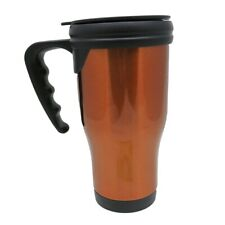 14 oz Stainless Steel Exterior Plastic Inside Travel Mug with Handle (Orange)