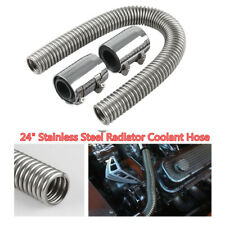 "24"" Chrome Flexible Stainless Steel Upper & Lower Radiator Hose Kit with  Caps"