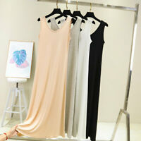 Women Scoop Neck Full Slip Plain Long Vest Dresses Camisole Liner Under dress